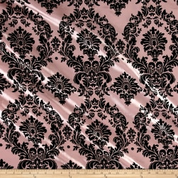 Flocked Damask Taffetta Pink/Black Fabric