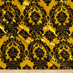 Flocked Damask Taffetta Yellow/Black