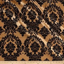 Flocked Damask Taffetta Gold/Black Fabric