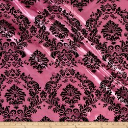 Flocked Damask Taffetta Candy Pink/Black Fabric