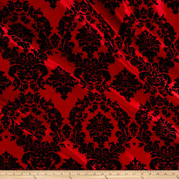Flocked Damask Taffetta Red/Black Fabric