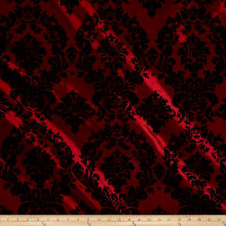 Flocked Damask Taffetta Burgundy/Black Fabric