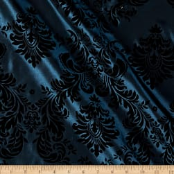 Flocked Damask Taffetta Teal Black Fabric