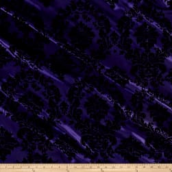 Flocked Damask Taffetta Purple/Black Fabric