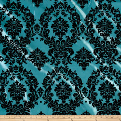 Flocked Damask Taffetta Aqua Blue/Black Fabric