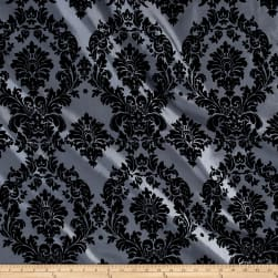 Flocked Damask Taffetta Silver/Black Fabric