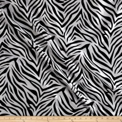Flocked Zebra Taffetta White/Black Fabric