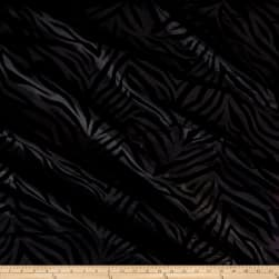 Flocked Zebra Taffetta Black Fabric