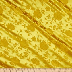 Rose Satin Jacquard Yellow Fabric
