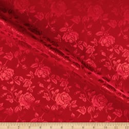 Rose Satin Jaquard Red Fabric
