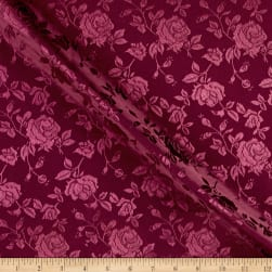 Rose Satin Jaquard Burgundy Fabric