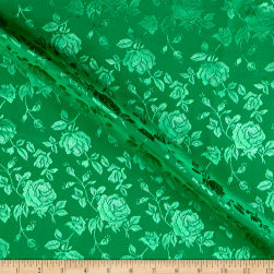 Rose Satin Jaquard Flag Green Fabric