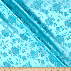 Rose Satin Jacquard Aqua Fabric