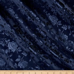 Rose Satin Jaquard Navy Fabric