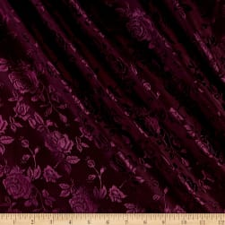 Rose Satin Jaquard Plum Fabric