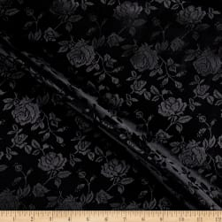 Rose Satin Jaquard Black Fabric