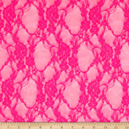 Giselle Stretch Floral Lace Neon Fuchsia Fabric
