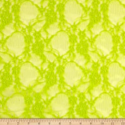 Giselle Stretch Floral Lace Lime Fabric