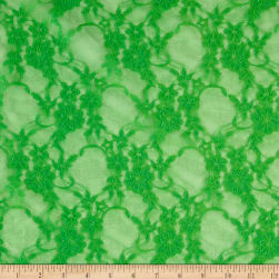 Giselle Stretch Floral Lace Neon Green Fabric