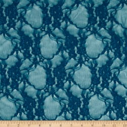 Giselle Stretch Floral Lace Teal Fabric