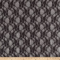 Giselle Stretch Floral Lace Gray Fabric