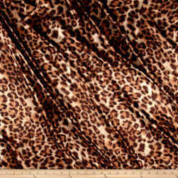 Charmeuse Satin Leopard Brown Fabric