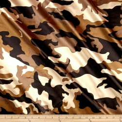 Charmeuse Satin Camo Brown Fabric