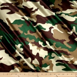 Charmeuse Satin Camo Hunter Fabric