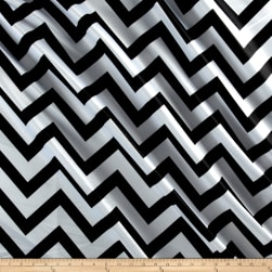 Mi Amor Duchess Satin Chevron Medium Black/White Fabric