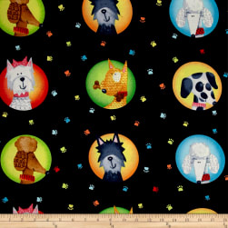Dog's World Allover Black Fabric