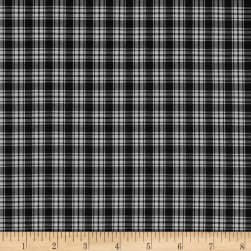Pima Tartan Plaid Shirting Black/White Fabric
