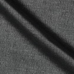Roma Hanky Metallic Linen Silver on Black Fabric