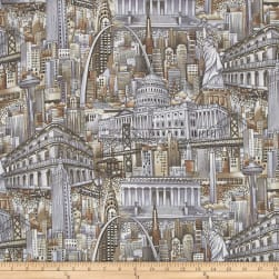 Cityscapes Allover Sepia Fabric