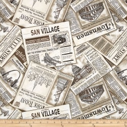 Cityscapes Newspaper Ad Sepia Fabric