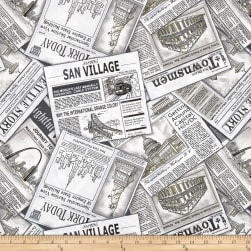 Cityscapes Newspaper Ad Black/White Fabric