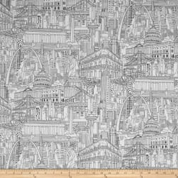 Cityscapes Color Me Black/White Fabric