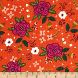 Enchanted Floral Double Gauze Red-Orange Fabric