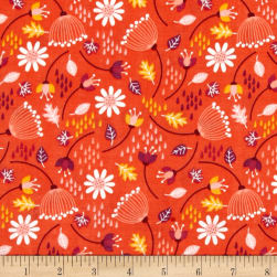 Enchanted Seed Pods Double Gauze Red-Orange Fabric