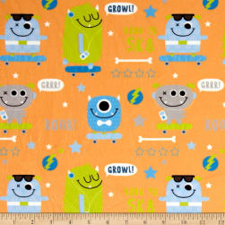 Minky SK8 Monsters Orange Fabric