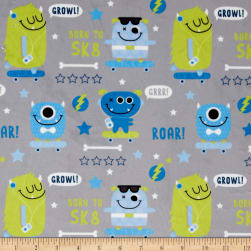 Minky SK8 Monsters Grey Fabric