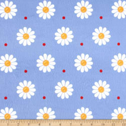Minky Sunshine Daisies Blue/White Fabric