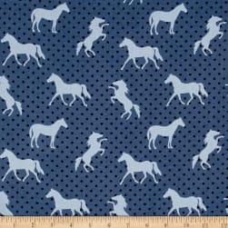 Michael Miller Equestrian Pony Up Denim Fabric