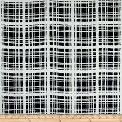 Rayon Challis Abstract Plaid Print Navy/Ivory Fabric