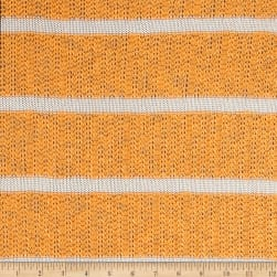 Designer Open Weave Sweater Knit Orange/White Fabric