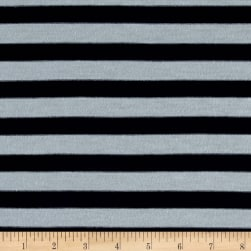 Jersey Knit Stripes Navy/Mint Green Fabric