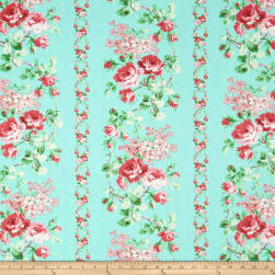 Verna Mosquera Sugar Bloom Sweet Vine Aqua Fabric