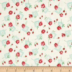 Verna Mosquera Sugar Bloom Gingham Garden Coconut Fabric