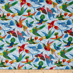 Natural World Tropical Birds Natural Fabric