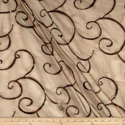 Ferial Organza Embroidery Brown Fabric