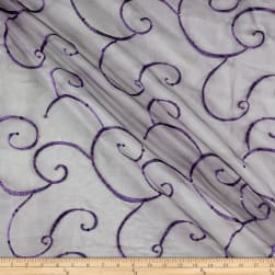 Ferial Organza Embroidery Dark Lilac Fabric